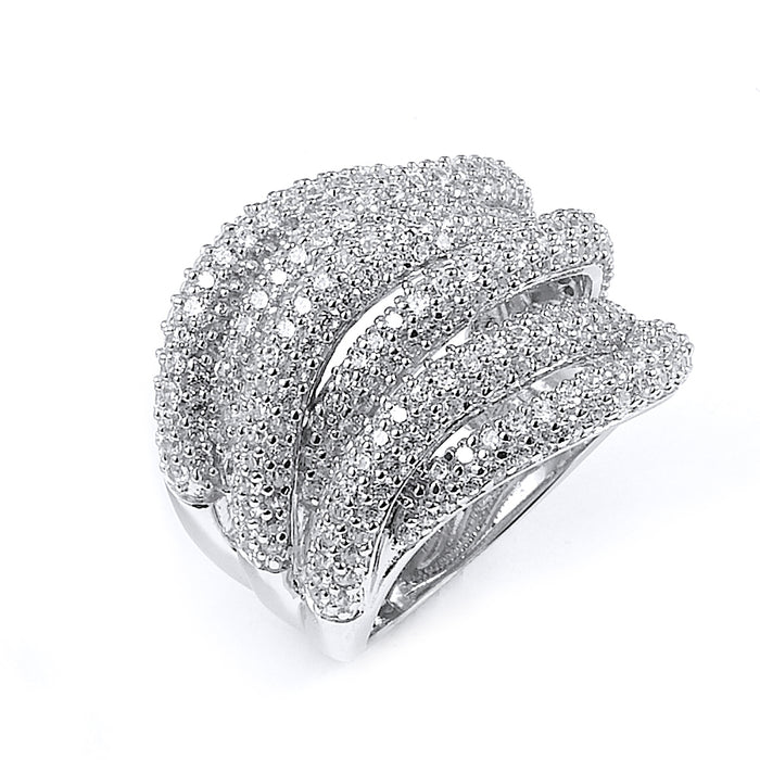 Sterling Silver Rhodium Plated and 6 swirls of CZ Ring