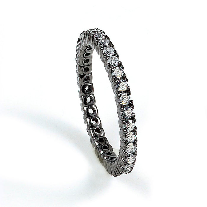 Sterling Silver Rhodium Plated and CZ Eternity Band