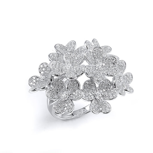 Sterling Silver Rhodium Plated and CZ Flowers Ring