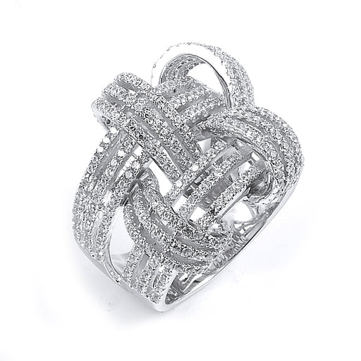 Sterling Silver Rhodium Plated and CZ Weave Basket Ring