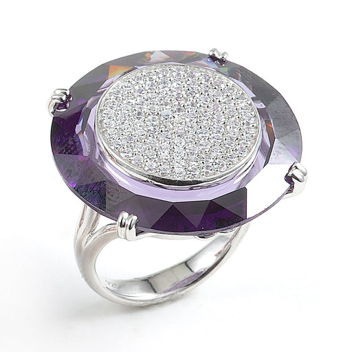 Sterling Silver Rhodium Plated and CZ Purple Disk Ring