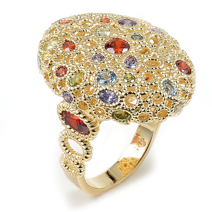Sterling Silver Rhodium Plated and Multi-Color CZ Ring