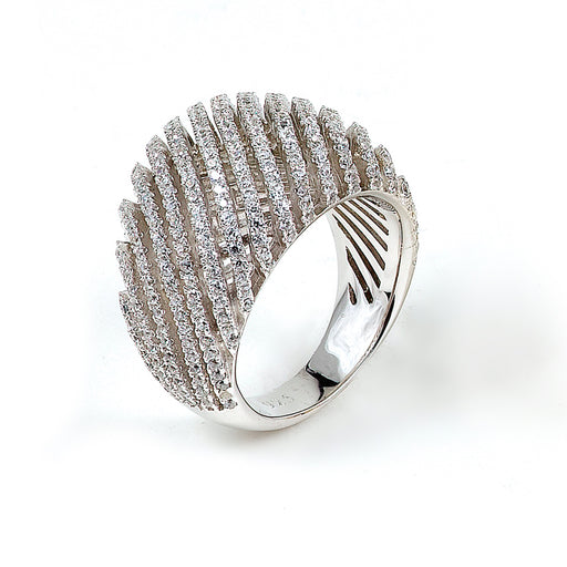 Sterling silver micro-pave CZ ring with rhodium plating