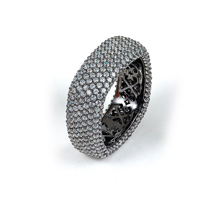 Sterling Silver Rhodium Plated and CZ Square Ring