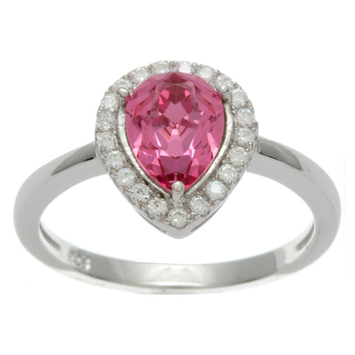 Sterling Silver Rhodium Plated and Simulated Pink Sapphire center stone and CZ Ring
