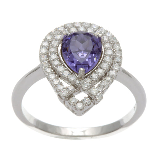 Sterling Silver Rhodium Plated and Simulated Tanzanite center stone with CZ Ring