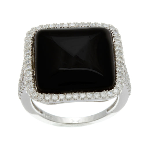 Sterling Silver Rhodium Plated and cushion cut Simulated Black Onyx Agate center stone with CZ Halo Split Shank Ring