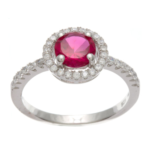 Sterling Silver Rhodium Plated and Simulated Ruby center stone with CZ Halo Ring