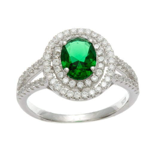 Sterling Silver Rhodium Plated and oval Simulated Emerald center stone with CZ double halo Ring
