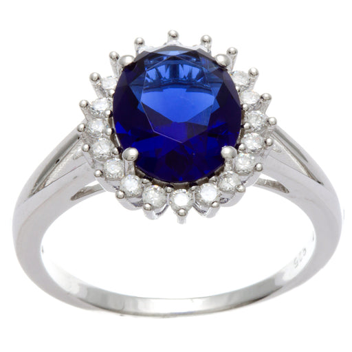 Sterling Silver Rhodium Plated and oval Simulated Sapphire center stone with CZ Halo Ring
