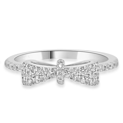 Sterling Silver Rhodium Plated and CZ Bow Tie Ring