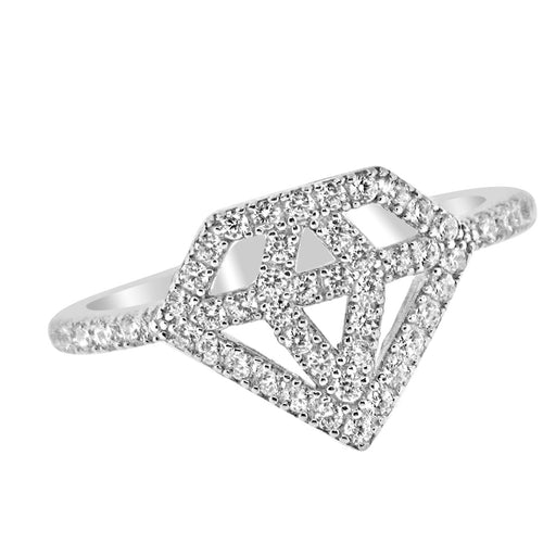 Sterling Silver Rhodium Plated and CZ Diamond Shape Ring