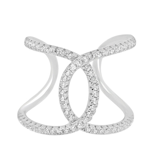 Sterling Silver Rhodium Plated and CZ Trendy Ring