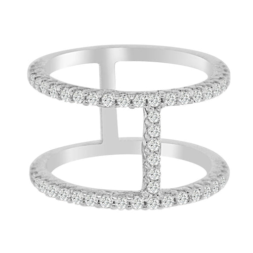 Sterling Silver Rhodium Plated and 2 rows of CZ Ring
