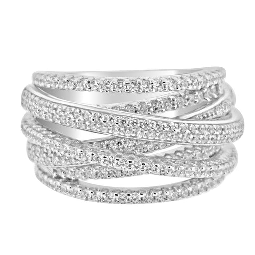 Sterling Silver Rhodium Plated and 7 rows of CZ Ring