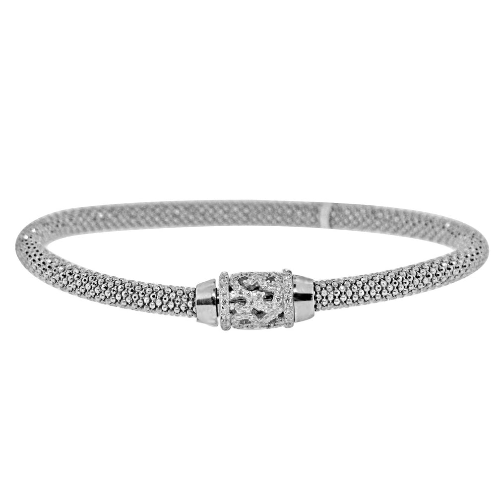 Sterling Silver Rhodium Plated and CZ Magnetic Clasp Italian Mesh Bangle