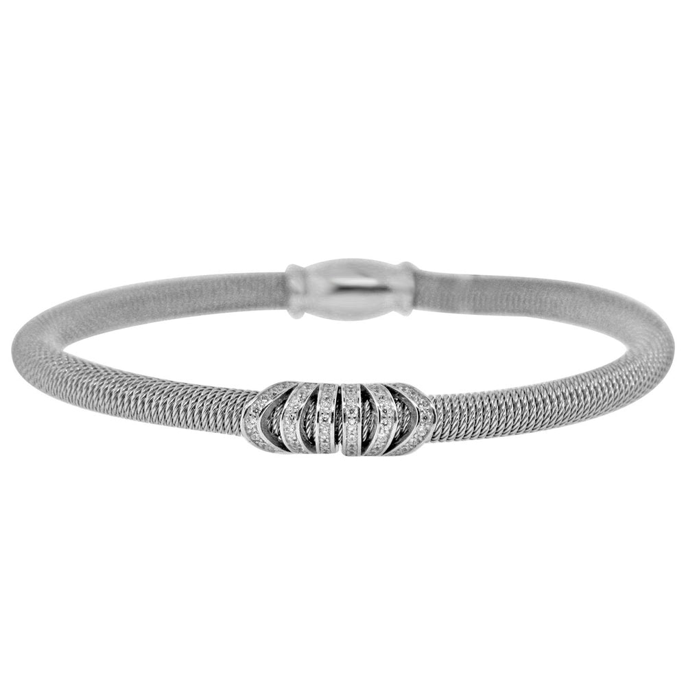 Sterling Silver Rhodium Plated and CZ Italian Wire Bangle