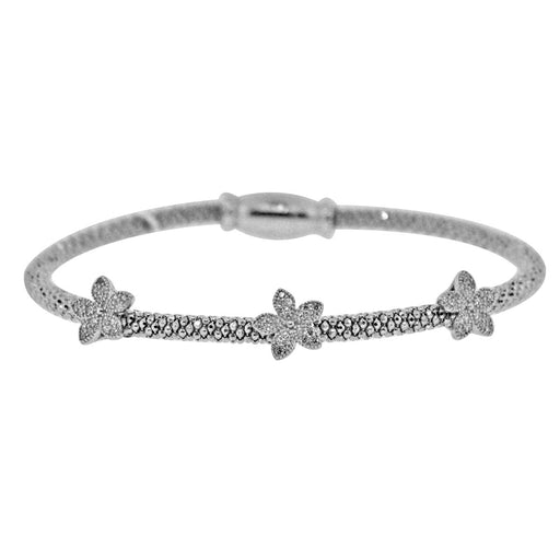 Sterling Silver Rhodium Plated with 3 station of flower CZ Mesh Italian Bangle