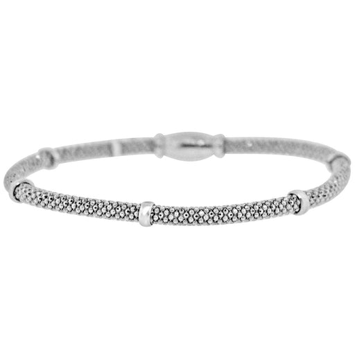 Sterling Silver Rhodium Plated Mesh Italian Bangle
