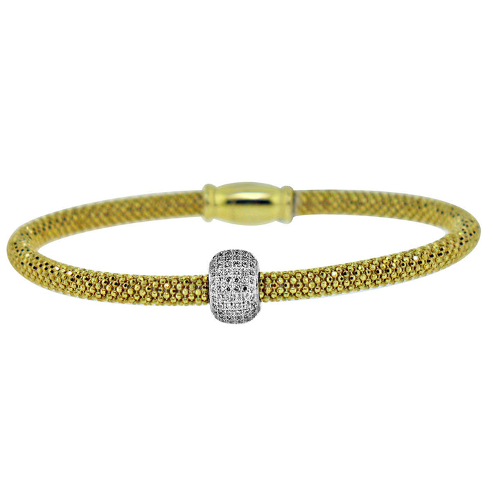 Sterling Silver Rhodium Plated and CZ Barrel Bangle
