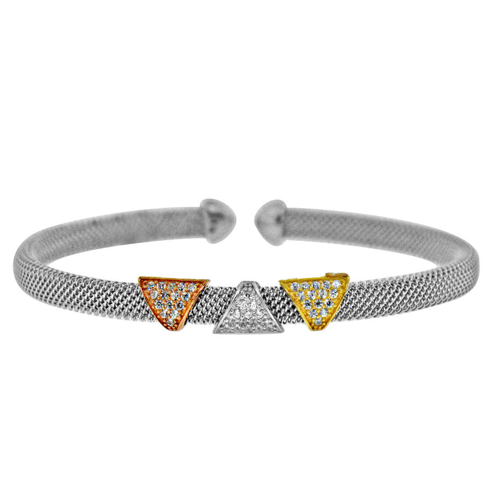 Three-Tone Sterling Silver and Triple Triange CZ Bangle