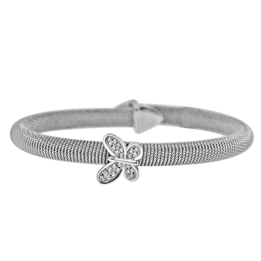 Sterling Silver Rhodium Plated and Butterfly CZ Bangle
