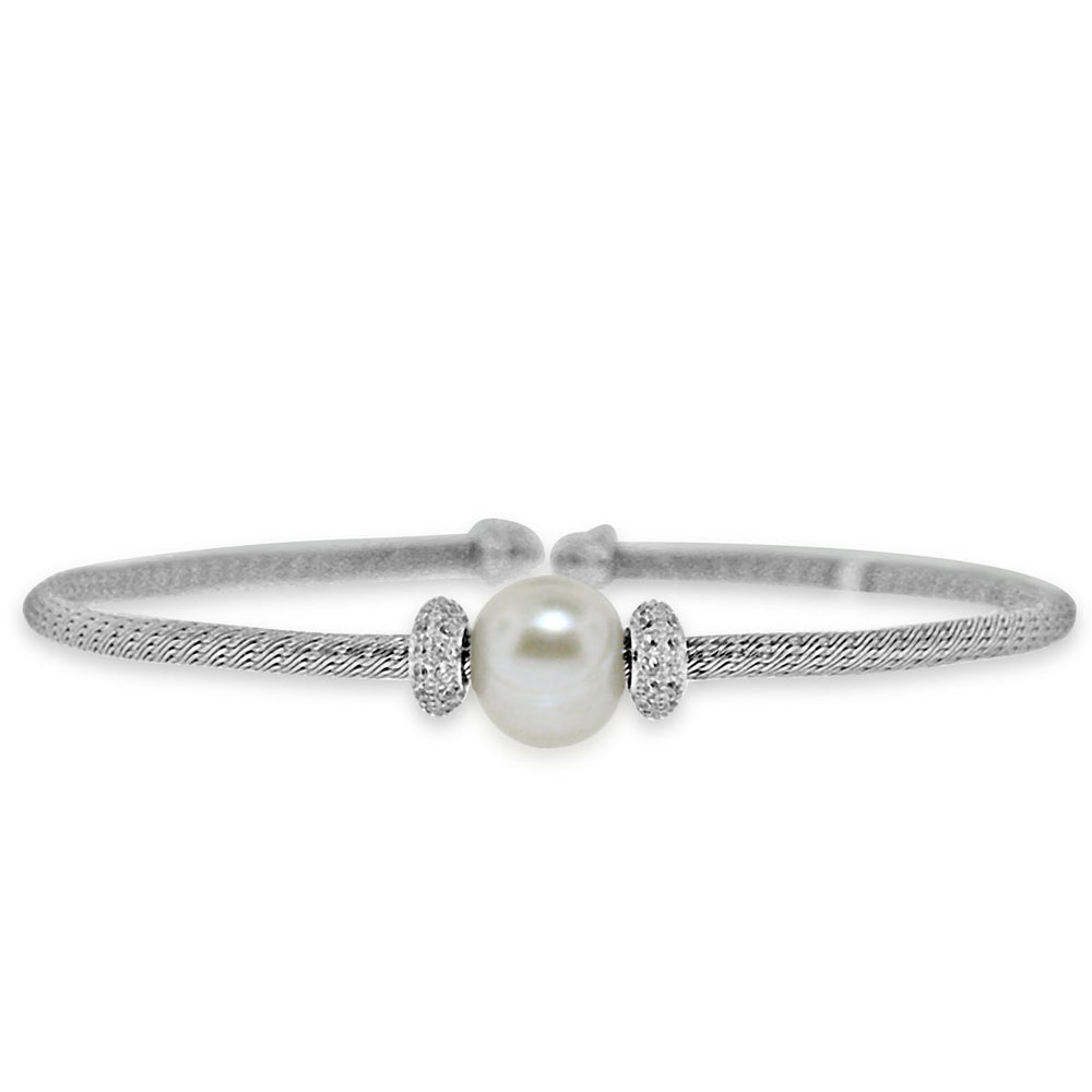 Sterling Silver Rhodium Plated with Simulated Pearl and CZ