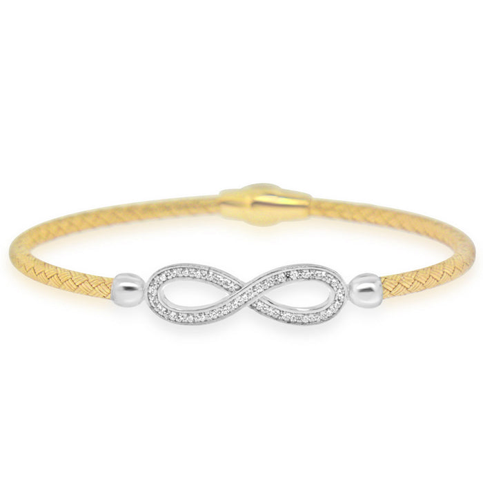 Sterling Silver Rhodium Plated with Infinity CZ Bangle