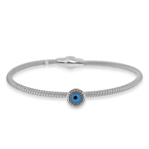 Sterling Silver Rhodium Plated Blue Enameled Evil Eye with CZ Bangle