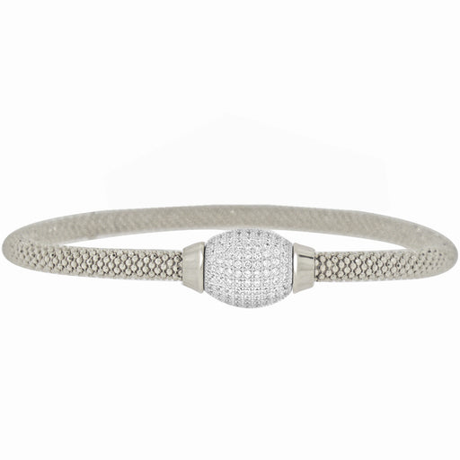 Sterling Silver Rhodium Plated Italian Mesh Bangle with CZ Barell