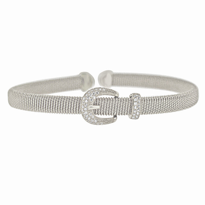 Sterling Silver Rhodium Plated with CZ Belt Buckle Bangle