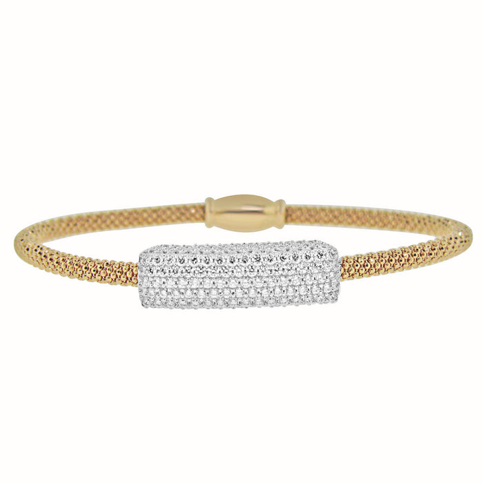 Sterling Silver Rhodium Plated Italian Mesh Bangle with CZ Bar