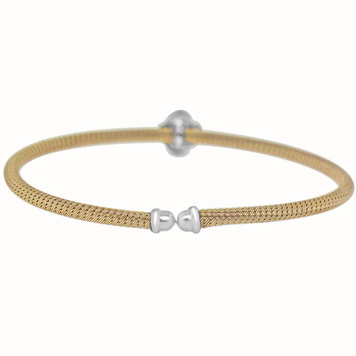 Sterling Silver Rhodium Plated with CZ Flower Slip On Bangle