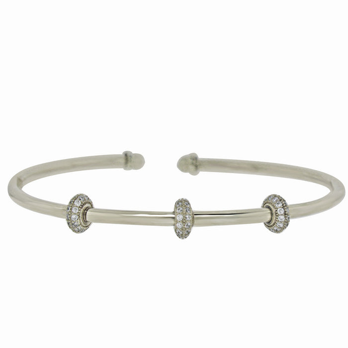 Sterling Silver Rhodium Plated with 3 barell of CZ Slip On Bangle