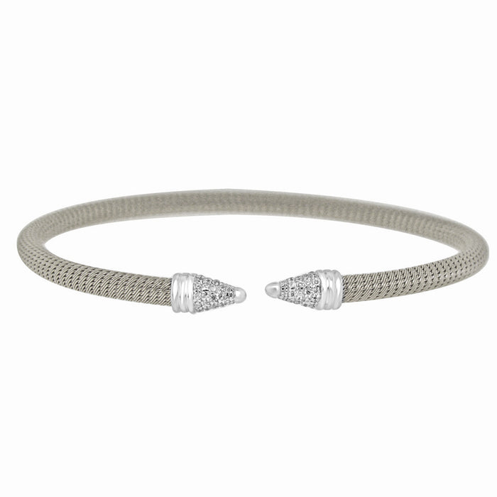 Sterling Silver Rhodium Plated with CZ Slip On Bangle
