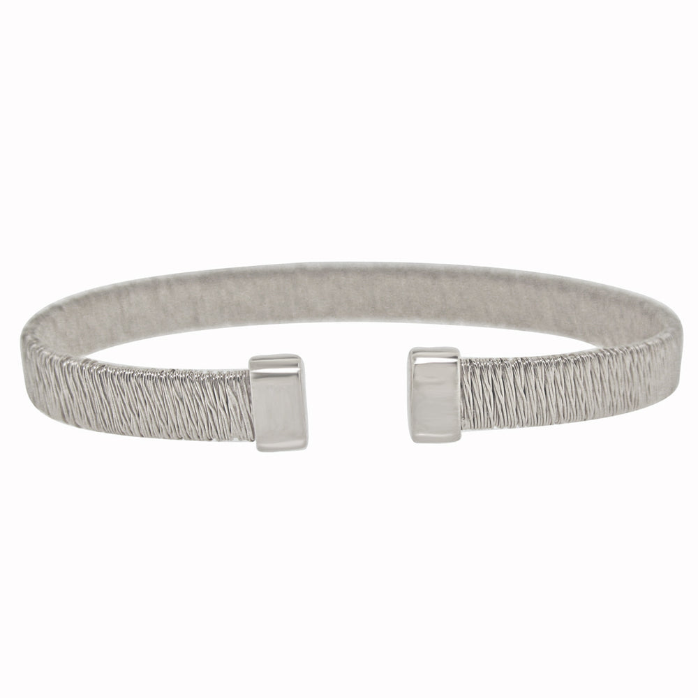 Sterling Silver Rhodium Plated Italian Wire Slip On Bangle