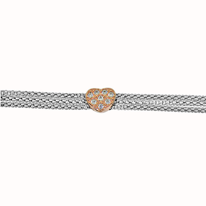 Sterling Silver Rhodium Plated with CZ Heart Bracelet