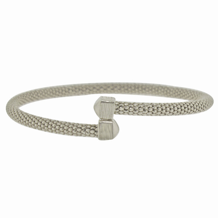 Sterling Silver Rhodium Plated Italian Mesh Slip On Bangle