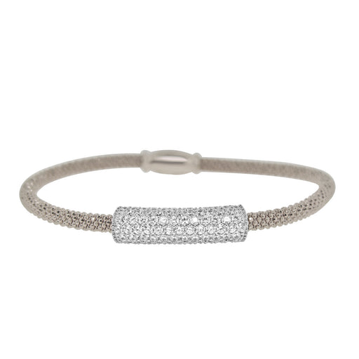 Sterling Silver Rhodium Plated with CZ Bar Bangle