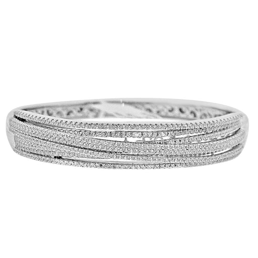Sterling Silver Rhodium Plated and Multi-Row CZ Bangle