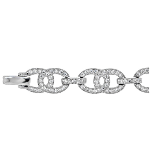 Sterling Silver Rhodium Plated and CZ Link Bracelet
