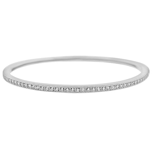 Sterling Silver Rhodium Plated and CZ Channel Bangle