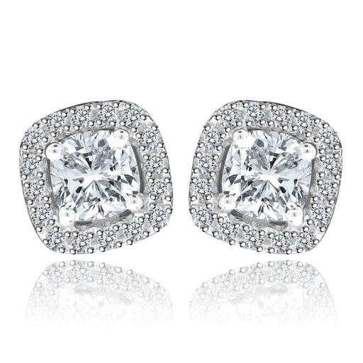 Sterling Silver Rhodium Plated and Princess cut CZ Halo Stud Earrings