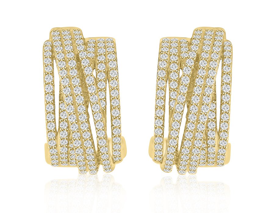 Sterling Silver Rhodium Plated and Multi-Row of CZ Earrings