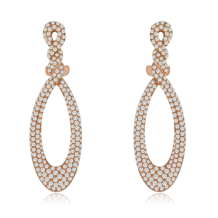 Sterling Silver Rhodium Plated and CZ Teardrop Earrings