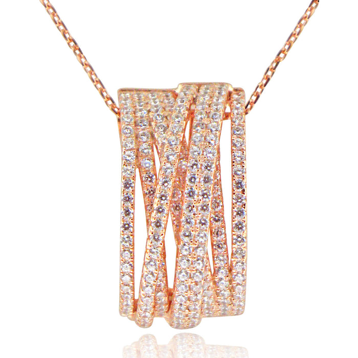 Sterling Silver Rhodium Plated and Multi-Row CZ Necklace