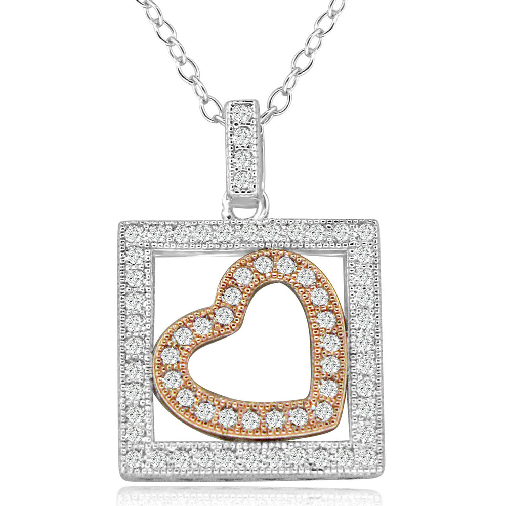 Sterling Silver Rhodium & Rose Gold Plated Heart in a Box CZ Necklace