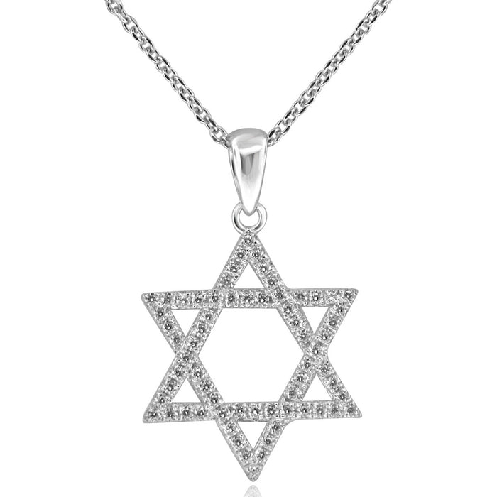 Sterling Silver Rhodium Plated and CZ Star of David Necklace