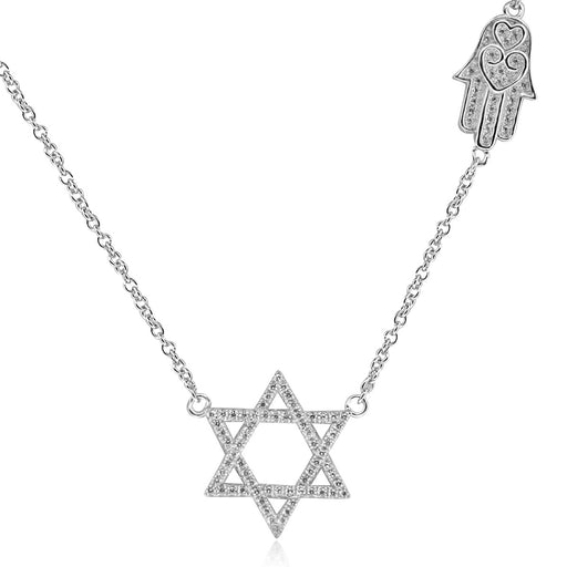 Sterling Silver Rhodium Plated with Star of David and Chamsah CZ Necklace
