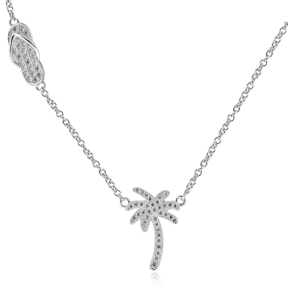 Sterling Silver Rhodium Plated with Palm Tree and Sandal Necklace
